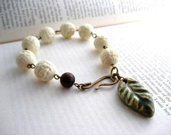 Ceramic Leaf ,  Carved Lucite Beaded Bracelet,  Stackable, Boho Jewelry