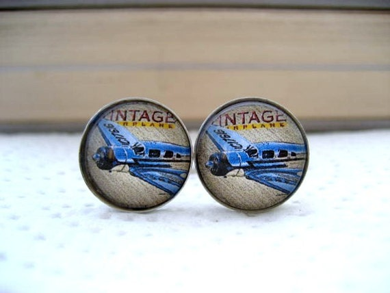 Great Gift for Dad Vintage Airplane Cufflinks