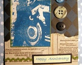 SALE - Anniversary Vintage Card Greeting Correspondence RicRac Buttons Collage Altered