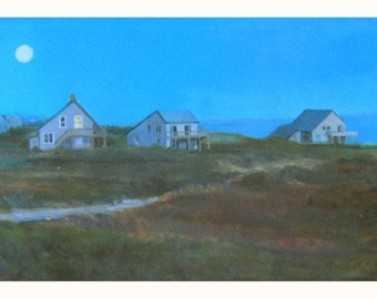 Giclee Print of Nantucket Beach Houses, Dusk