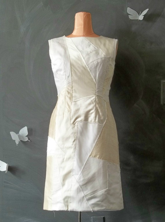 SALE Eco Brides Patchwork Wedding Short Shift Dress OOAK