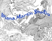 LITTLE NEPTUNE mermaid baby digital stamp