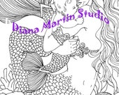 Garden of the Nautilus  mermaid baby digital stamp