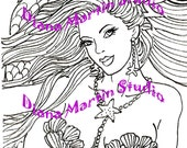 Pretty Shells   mermaid digital stamp fish coloring book