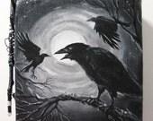 SALE  CALLING STARS  Original crow canvas sticks Mixed Media Black Raven Free Ship Art Assemblage