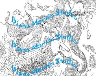 Treasure of the REEF   digital stamp coloring book mermaids gold coins fish
