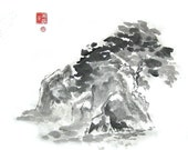 Original Chinese Brush Painting Rocks and Trees in Ink ON SALE