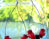 Delicate Black and Cherry Earrings