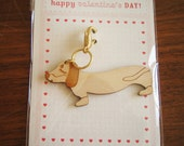 Valentine's Day Teriyaki the Dachshund Dog Wooden Engraved Keychain Zipper Pull with Card Packaging