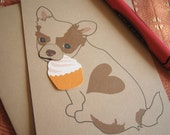 Billie Jean the Chihuahua Happy Birthday Cupcake Blank Note Card with Envelope