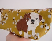 Boris the Bulldog Vintage Inspired Mustard Blossom Floral Cotton Canvas Floral Case with Vinyl Applique