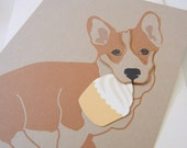 Jer Jer the Welsh Corgi Happy Birthday Cupcake Blank Note Card with Envelope