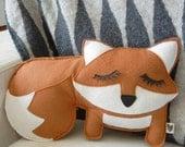 Grayson the Fox Felt Applique Plush Doll Pillow