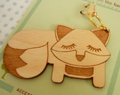 Grayson the Fox Wooden Engraved Keychain Zipper Pull with Card Packaging