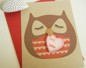 Valentine Stewart the Owl Owl You Need is Love Felt Heart Note Card with Envelope