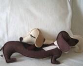 Fisher the Dachsund Weiner Dog Wool Felt Applique Plush Doll Pillow