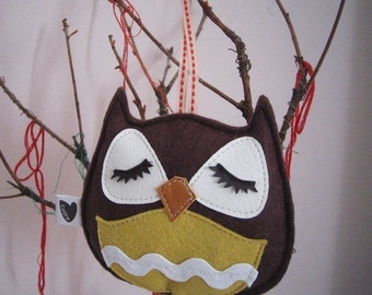 Brown Stewart the Owl Holiday Tree Wool Felt Applique Decorative Ornament