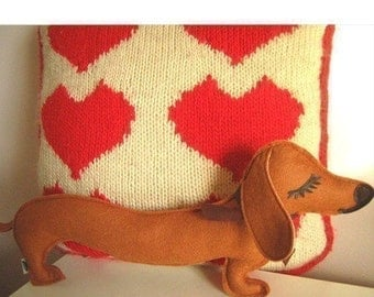 Barbeque the Dachshund Weiner Dog Wool Felt Applique Plush Doll Pillow