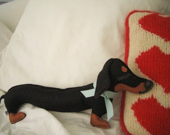 Teriyaki the Dachshund Weiner Dog Wool Felt Applique Plush Doll Pillow