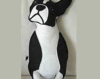 Lola the Boston Terrier Cute Wool Felt Applique Embroidered Decorative Pillow Doll Plush