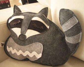 Kyle the Raccoon Wool Felt Applique Plush Doll Pillow