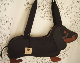 Teriyaki the Dachshund Dog Applique Canvas Tote Purse Handbag Shoulder bag