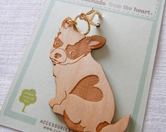 Billie Jean the Chihuahua Wooden Engraved Keychain Zipper Pull