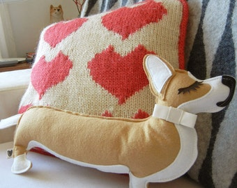 Jer Jer the Welsh Corgi Dog Wool Felt Applique Plush Doll Pillow