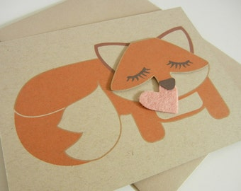 Grayson the Fox Felt Heart Blank Note Card with Envelope