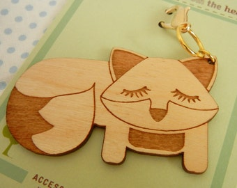 Grayson the Fox Wooden Engraved Keychain Zipper Pull with Card Packaging (free shipping)