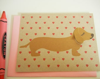 BBQ the Dachshund Heart Print Note Card with Envelope