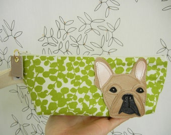 Nuri the French Bulldog Cotton Canvas Case with Vinyl Applique with Custom Fabric