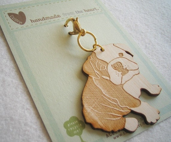 Boris the Bulldog Wooden Engraved Keychain Zipper Pull with Card Packaging
