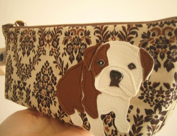 Boris the Bulldog Cream Tan Black Vintage Inspired Cotton Canvas Floral Case with Vinyl Applique