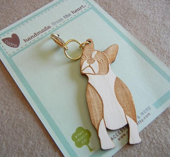 Lola the Boston Terrier Wooden Engraved Keychain Zipper Pull