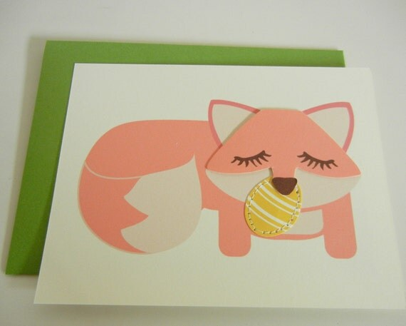 Grayson the Fox Pink Spring Easter Note Card Paper Applique Egg with Envelope