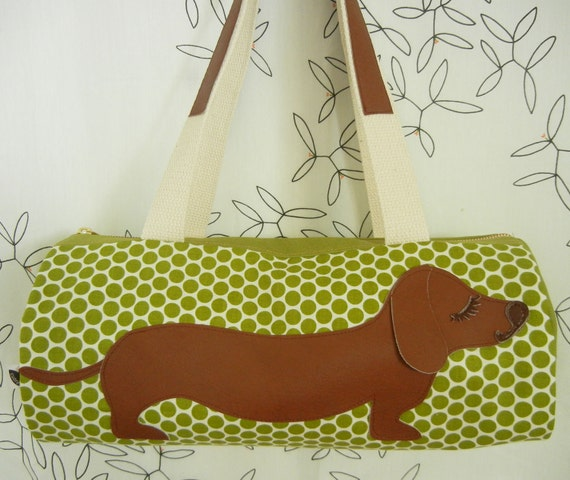 BBQ the Dachshund Olive Polka Dots Cotton Canvas Duffel Tote Bag Purse with Vinyl Applique (Balance for Kendra)