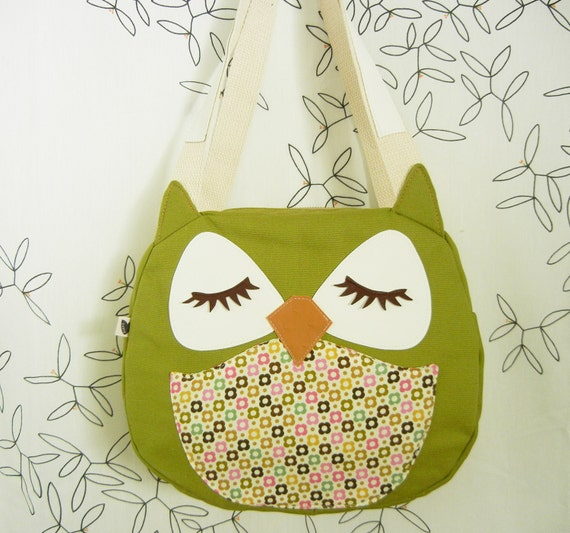 Sadie the Owl Mini Blossom Applique Canvas Tote Purse Handbag Shoulder bag