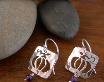 Pumkin Earrings with Amethyst