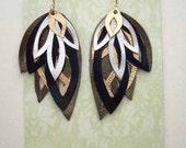 Hand Cut Leather Leaf Earrings