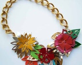 Multicolor Flower Leather Necklace