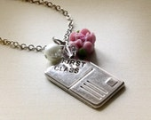 Sale - Silver First Class Mail Chram Necklace. White Faux Pearl. Polymer Clay Pink Rose Flower. Gift for Her. Sister. Girlfriend
