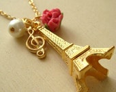 Music Night at Paris Eiffel Tower Necklace. Romance Shabby Chic Parisian Necklace. Long Necklace. Gift for Her