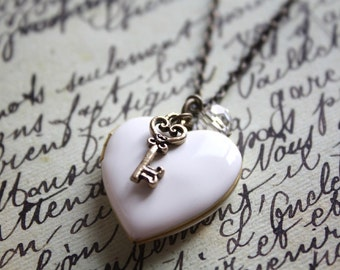 Antique White Heart Locket Romance Key Necklace. Locket Necklace. Gift for her, gift for bride, love keepsake