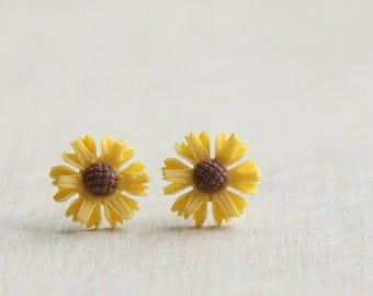 Yellow Sunflower Stud Earrings. Surgical Steel Earrings Post. Gift for Her.