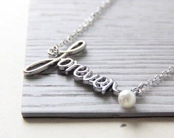 Forever Necklace. Forever Word Necklace. Silver Charm Necklace. Nickel Free Necklace Chain, Best Friend, Bridesmaid Gift