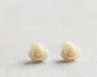 Tiny Ivory Cream Rose Flower Stud Earrings. Surgical Steel Earrings Post. Small. Little. Mini. Petite Earrings. Gift for Her