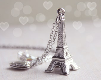 I Heart Paris Eiffel Tower. Feminine Parisian Necklace. Silver Heart Locket Necklace. Gift for France Traveller. Her Keepsake Necklace