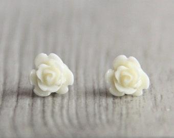 Tiny White Rose Flower Stud Earrings. Surgical Steel Earrings Post. Small. Little. Mini. Petite Earrings. Gift for Her