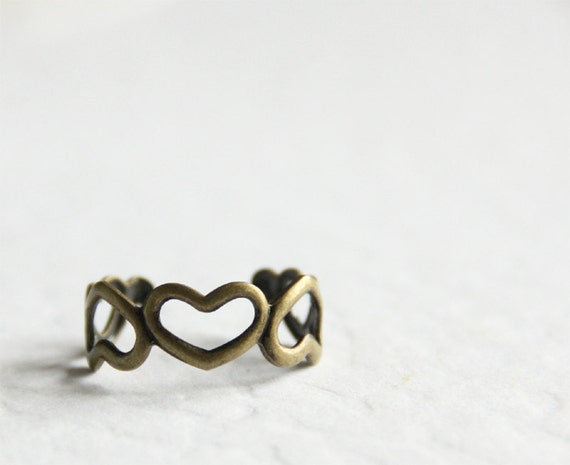 Heart with hearts Ring. Adjustable. Free Size. Cute and Adorable. Free Shipping. Clearance Sale